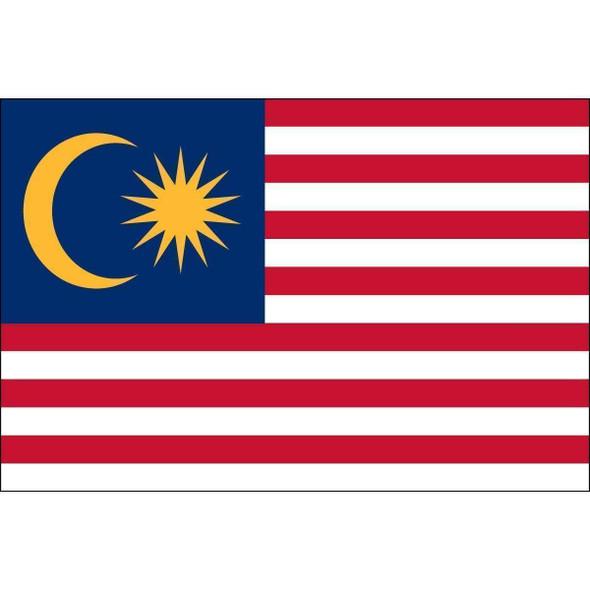 Malaysia 3 x 5 Nylon Dyed Flag (USA Made)