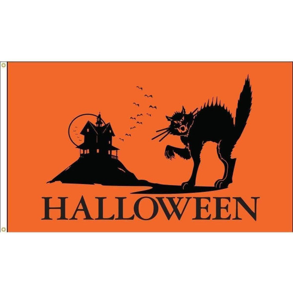 Halloween Cat 3 x 5 Nylon Dyed Flag (USA Made)