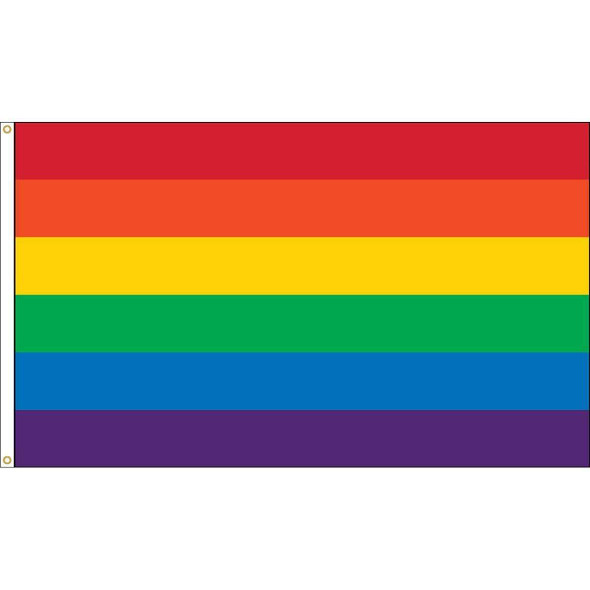 Rainbow 5 x 8 Nylon Printed Flag (USA Made)