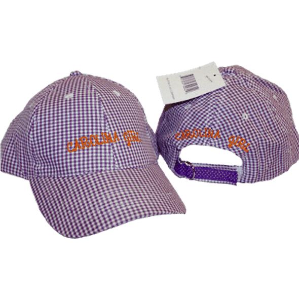 Carolina Girl Gingham Orange and Purple Cap