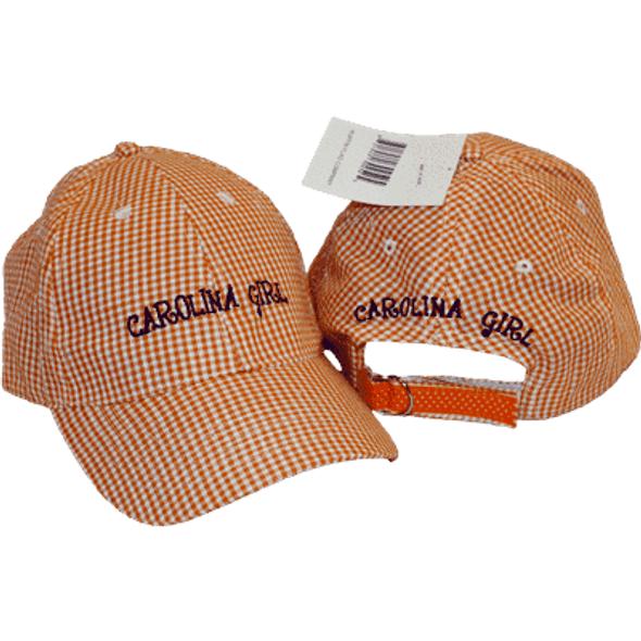 Carolina Girl Gingham Purple and Orange Cap