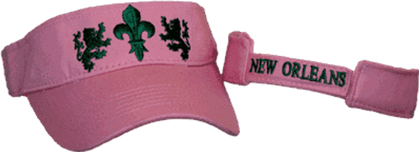 Fluer De Lis Pink and Green Visor