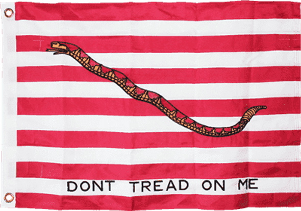 1st Navy Jack Don't Tread On Me Red Flag Double Nylon Embroidered 2x3 ft.