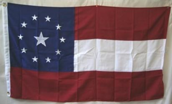 Confederate 11 Stars and Bars Stars in the Middle Nylon Embroidered Flag 3 x 5 ft.