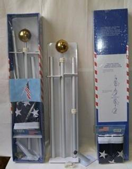 """Flag Pole - 6 ft. Aluminum 1"""" Flag Pole Kit with 2x3 ft USA Flag"""