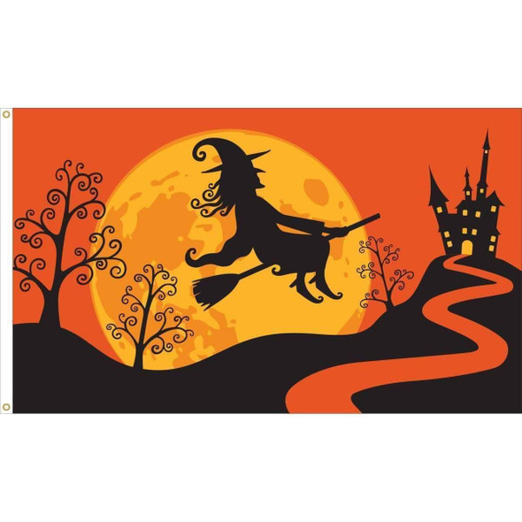Halloween Witch Flag - Outdoor Commercial - 3 x 5 Nylon Dyed (USA Made)