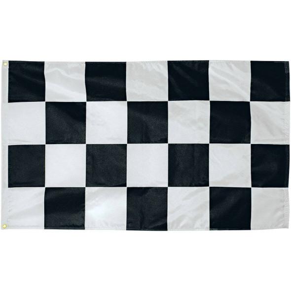 Black and White Checkered 3 x 5 Nylon Dyed Flag with Sleeve (Pole Hem) (USA MADE)