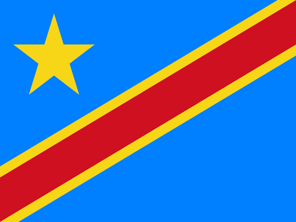 Democratic Republic of Congo 4 x 6 Inch Flag Mounted on Stick