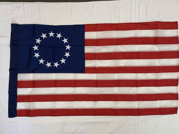 3x5 Betsy Ross FlagPole Hem - Nylon Sewn Sleeve Hoist Made in USA