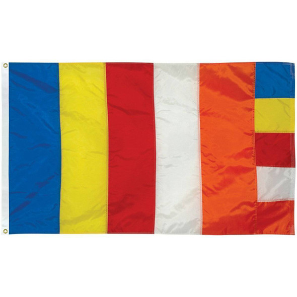 Buddhist Flag  3 ft x 5 ft Fully Sewn Flag (USA MADE)