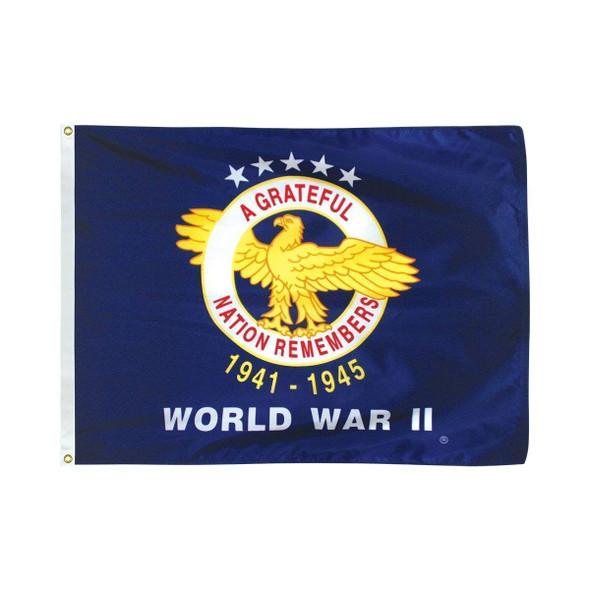 World War II Commemorative Flag  3 x 5 Nylon Dyed Flag (USA Made)