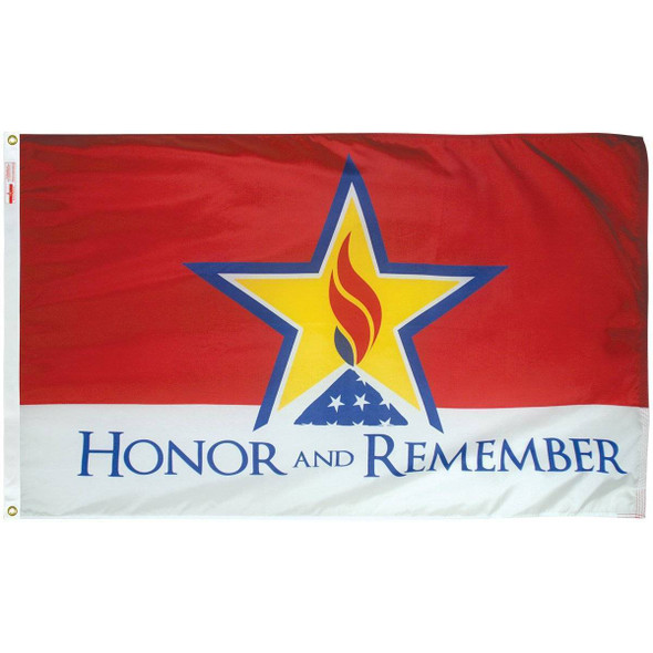 Honor and Remember 3 x 5 Outdoor Nylon Dyed Flag (USA Made)