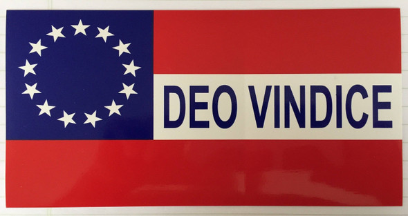 Confederate Stars and Bars Deo Vindice Bumper Sticker Pack of Ten (10)