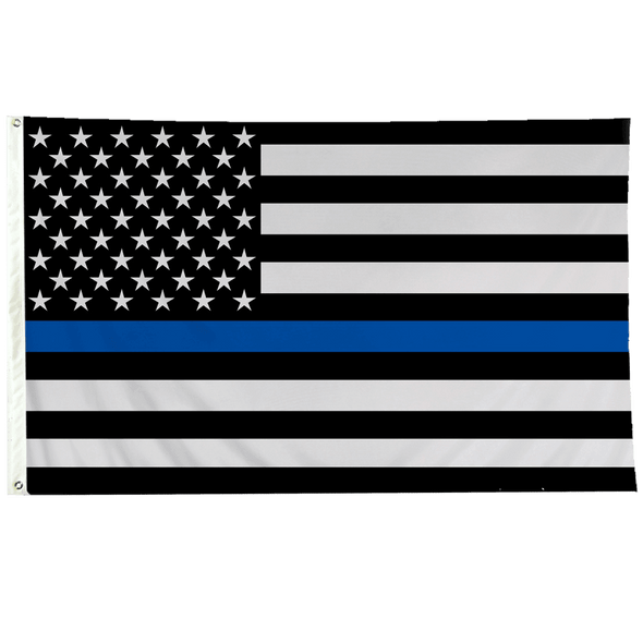 3x5 ft USA Thin Blue Line Flag - Sewn Outdoor  Made in USA