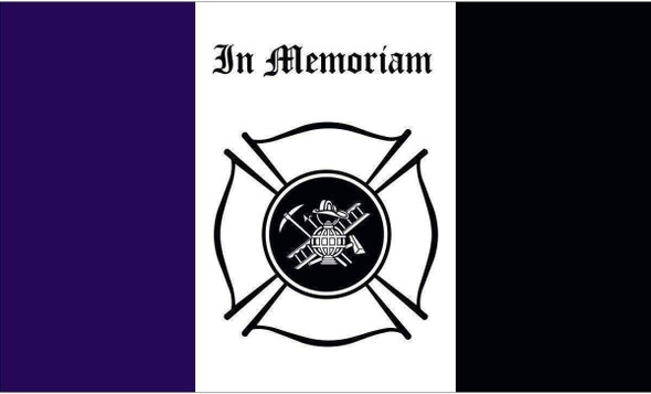 Firefighter Mourning 3 x 5 Nylon Dyed Flag Firemen Outdoor (USA Made)