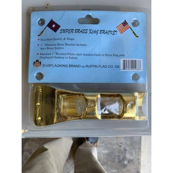 "Brass Bracket with screws 1"" diameter"