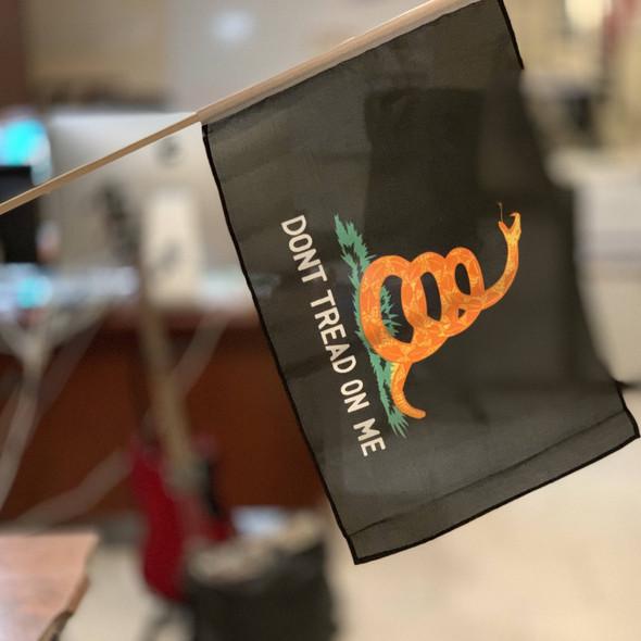 Gadsden black 12 X 18 inch on stick Flag (Qty 12)
