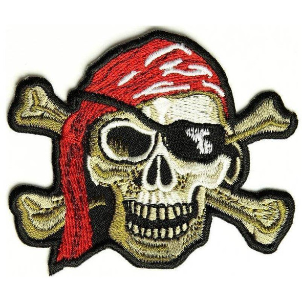 Pirate Skull Patch Red Hat - Eye Patch - 2 x 3 inch