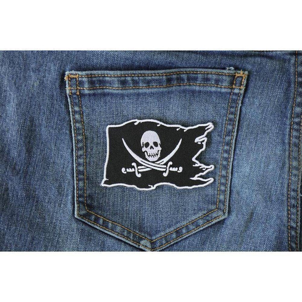 Buccaneer - Jolly Roger - Pirate Skull on a Flag  Patch - 2.5 x 3.5 inch