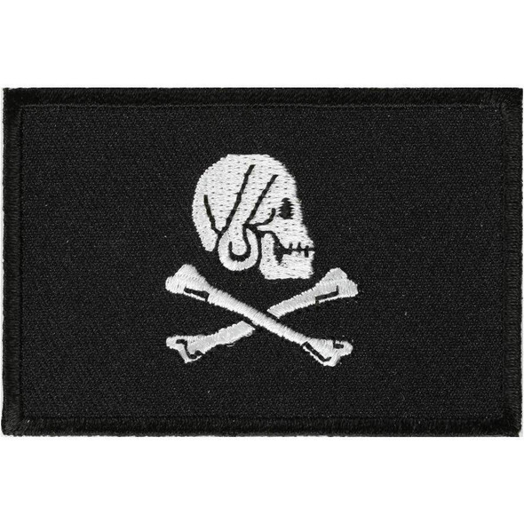 Pirate Skull and Cross Bones Jolly Roger Flag  Patch - 2 x 3 inch