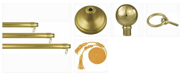 Deluxe Indoor Mounting Set (USA Made) Gold Aluminum Pole, Stand, Ornament & Tassel