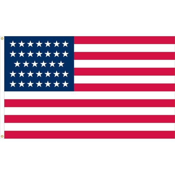 34 Stars Linear USA Flag - Nylon Appliqué Cut and Sewn - Made in USA
