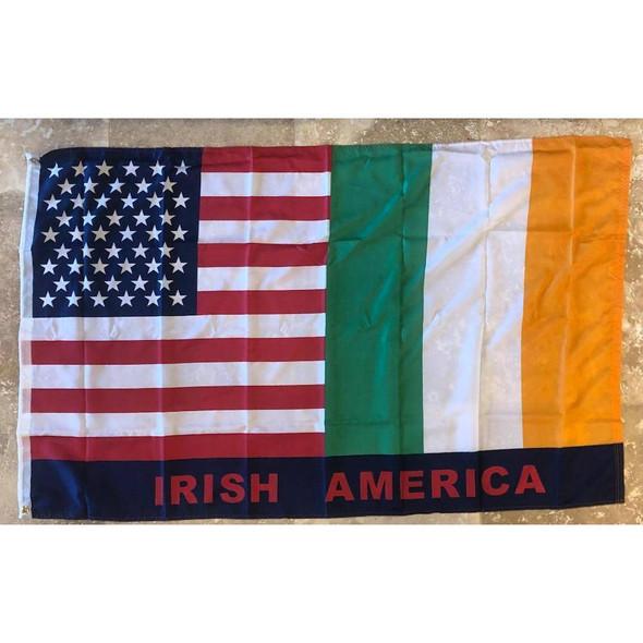 USA Irish American Flag 3X5 ft. 150D Nylon Printed