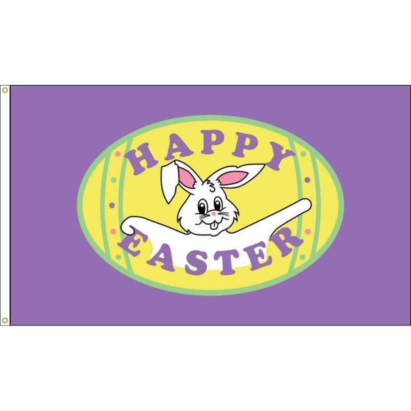 Happy Easter Purple Flag - Outdoor Commercial - 3 x 5 Nylon Dyed (USA Made)