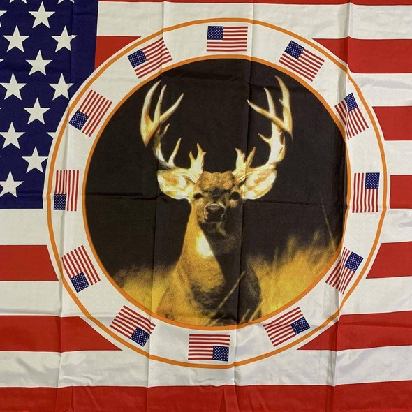 USA Deer Buck in a Circle Flag 3x5 ft. Economical