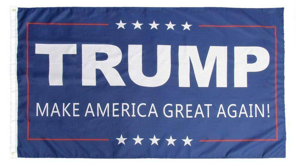 3x5 ft Double Sided Trump MAGA Flag Blue Background Rough Tex