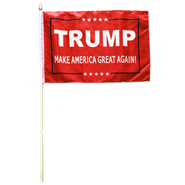 4x6 Inch Trump Make America Great Again Flag on a stick - Red Background