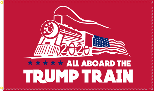 All Aboard The Trump Train 2020 Flag Red Nylon Made in USA
