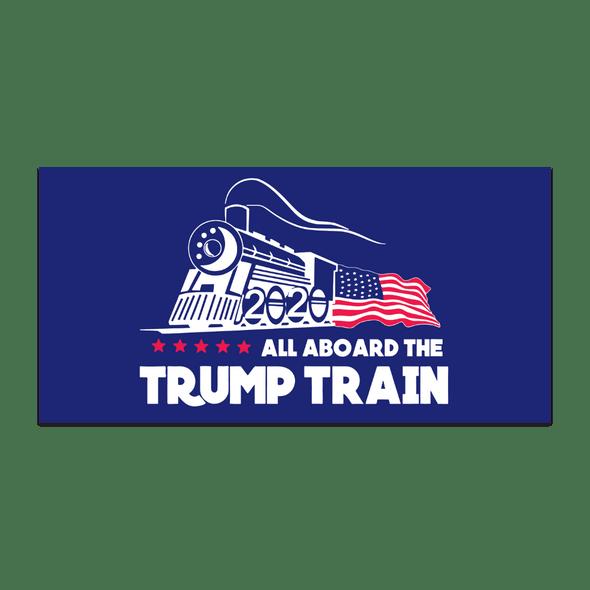 All Aboard The Trump Train  2020 Flag BLUE Nylon Made in USA