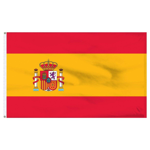 Spain Flag with Seal Nylon Dyed Made in USA