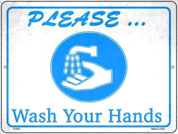 """Please Wash Your Hands Novelty Metal Parking Sign 9""""x12"""""""