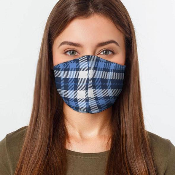 Blue White Plaid Preventative Face Mask