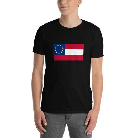 1st National 13 Flag T-Shirt Stars and Bars  Short-Sleeve Unisex