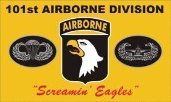 """101st Airborne Division Flag """"Screaming Eagles"""" Yellow Knitted"""