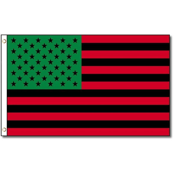 Afro American Green Black Red  USA Flag 3x5 Economical