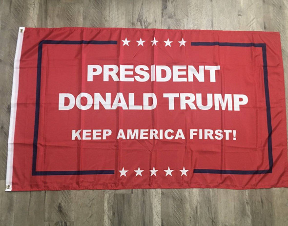 3x5 President Donald Trump Keep America First Flag- Red