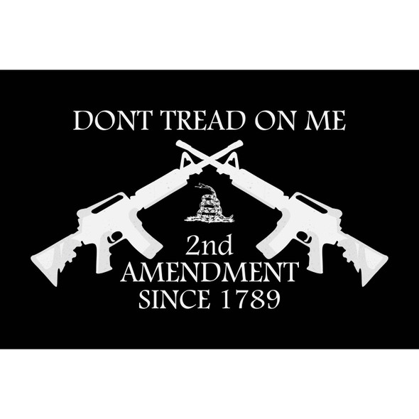 2nd Amendment Flag Dont Tread on Me Black Flag - Made in USA