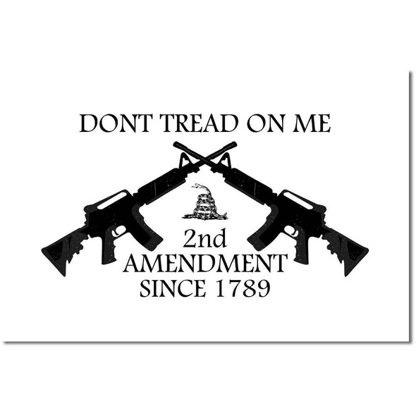2nd Amendment Flag Dont Tread on Me White Flag - Made in USA