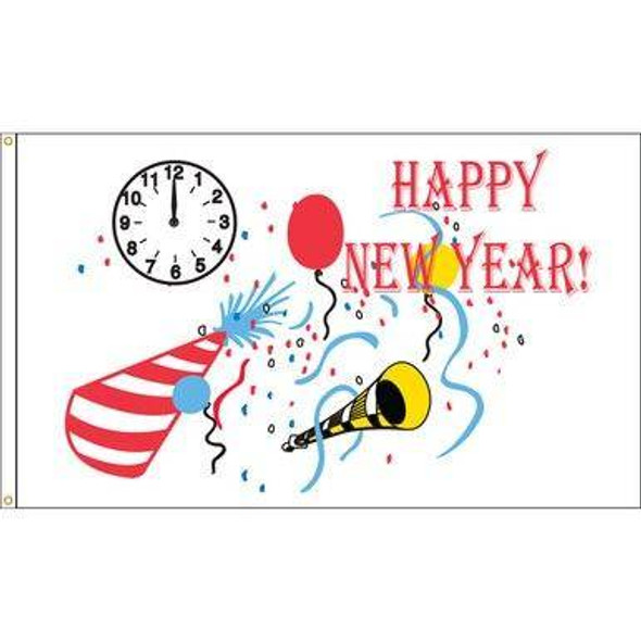 Happy New Year - Outdoor Commercial - 3x5 Nylon Printed Made in USA