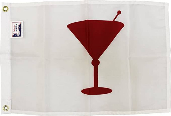"""Cocktail Time - Novelty Boat Flag - Outdoor Commercial - 12x18"""" Nylon Printed Made in USA"""