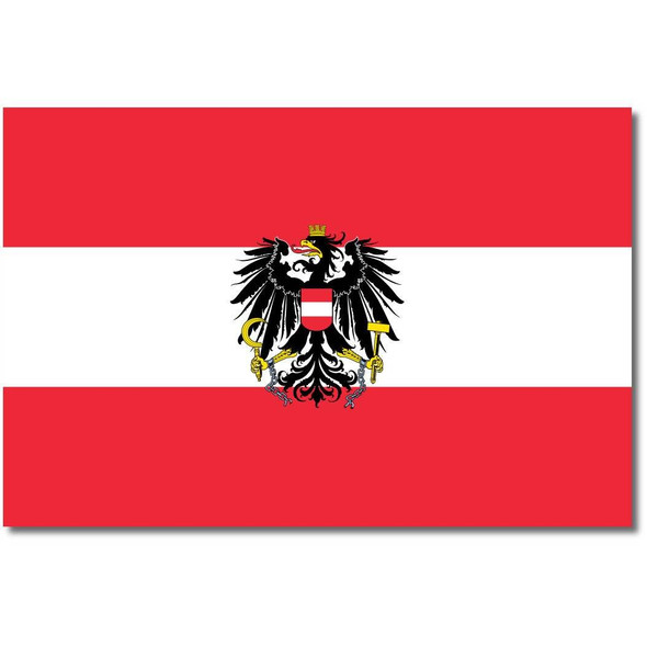 Austrian Flag with Eagle (state) Made in USA