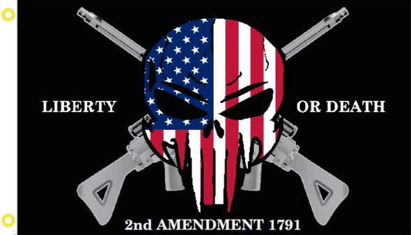2nd Amendment Liberty or Death 1791 Punisher Skull Flag - Made in USA