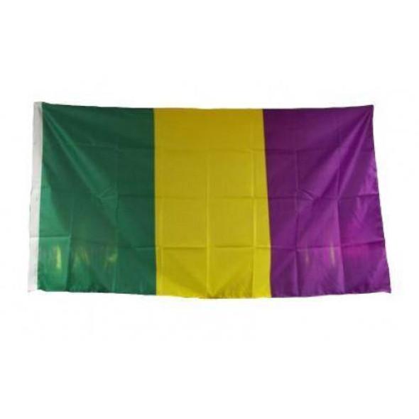 Mardi Gras Cut & Sewn Flag 3x5 ft. Made in USA