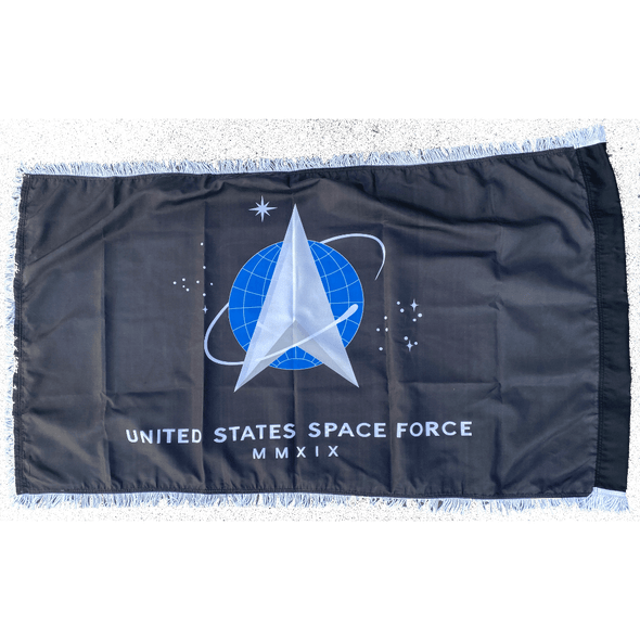 US Space Force Flag with Fringe Black Printed USA Made