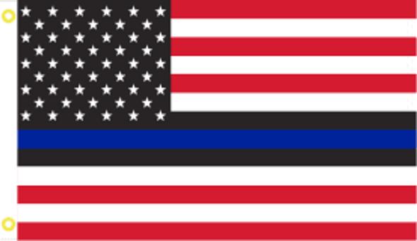2x3 Police USA Blue Line American Flag