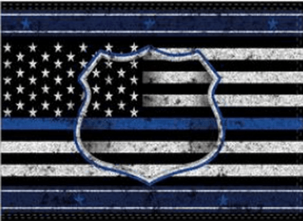 Police Badge Thin Blue Line USA Flag - Made in USA